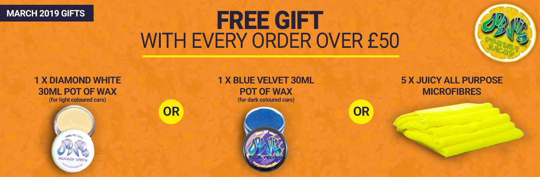 Free gifts on orders over £50.00